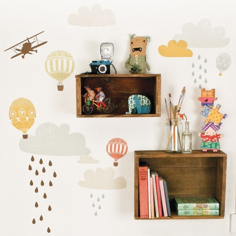 Up Up And Away - Adhesive Fabric Wall Stickers / Decals