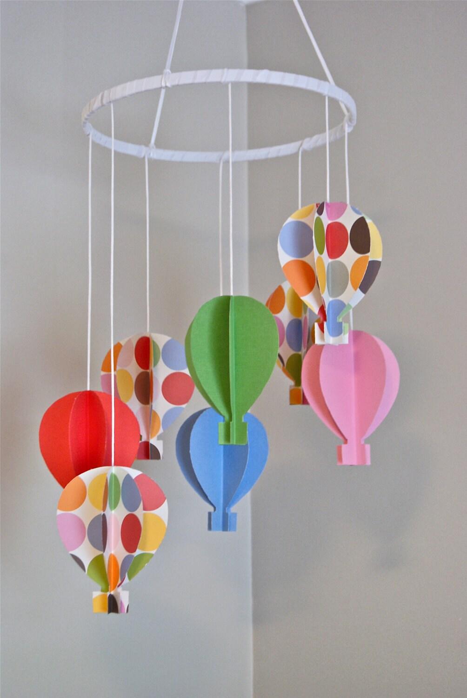 Girls 3d Paper Hot Air Balloon Mobile Polka Dots By Trailofivy