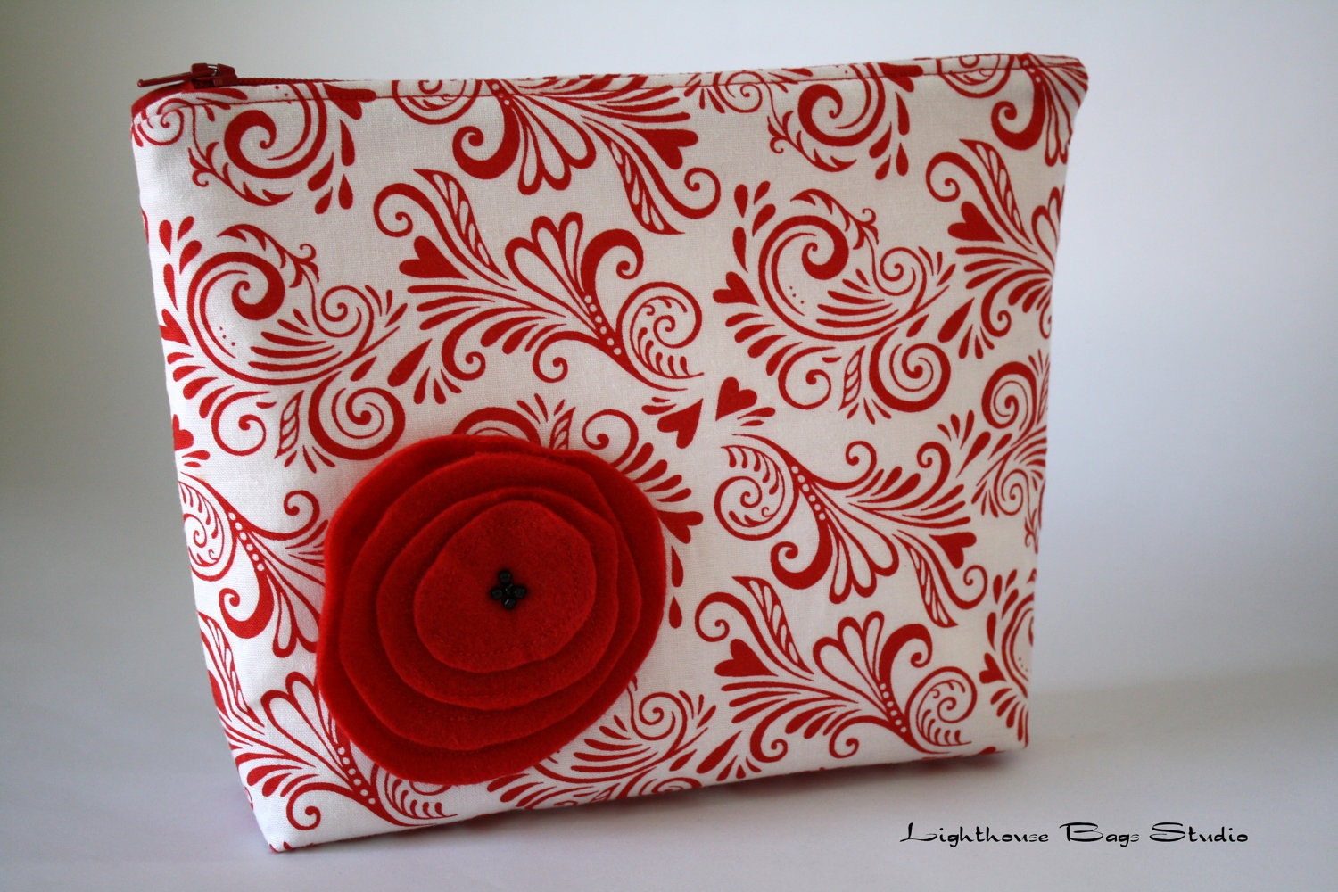 Wristlet Pouch w/ zipper - White Chocolate Swirls of Love Fabric - Lighthousebags