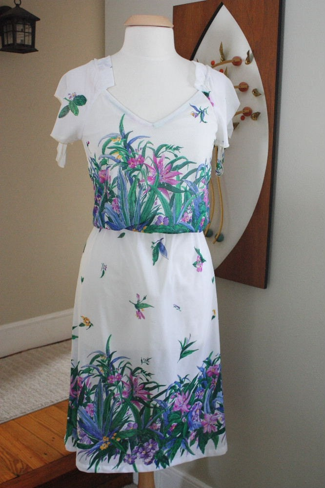 Vintage Sheer White Dress with Floral Design