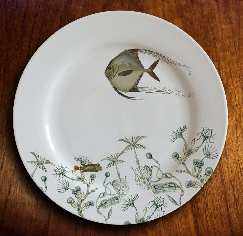 "fishy fish Dinner Plate - ""angelique"" - MilestoneDecalArt"