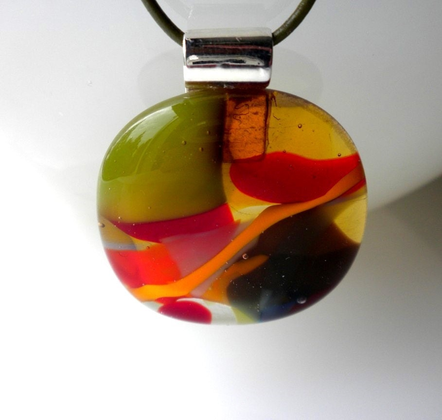 Exotic Flower - Modern Handmade Fused Glass Necklace
