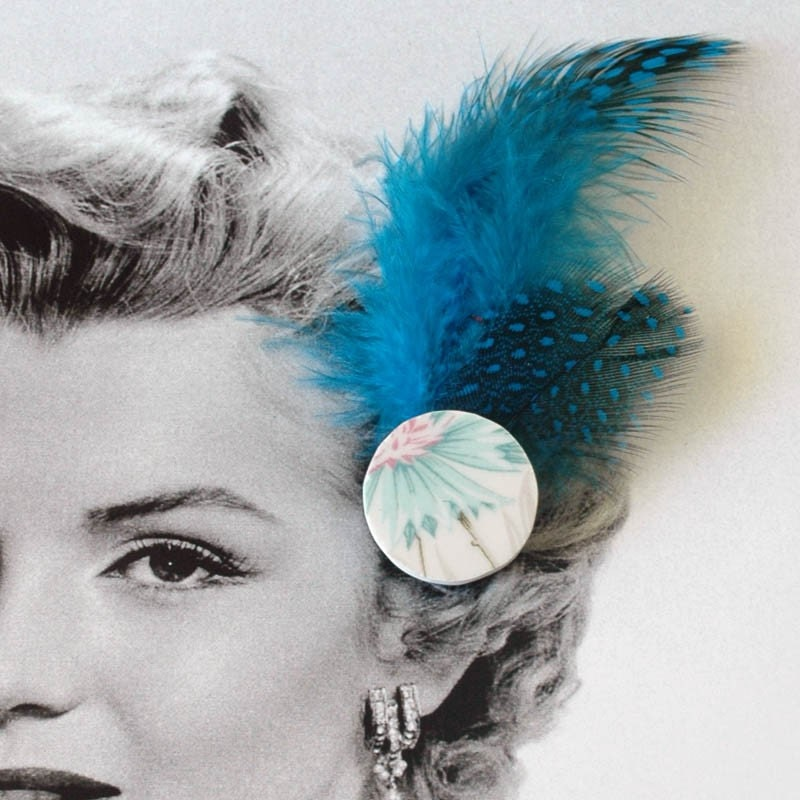 New Broken Plate Hair Clip with Feathers - turquoise blue and pink