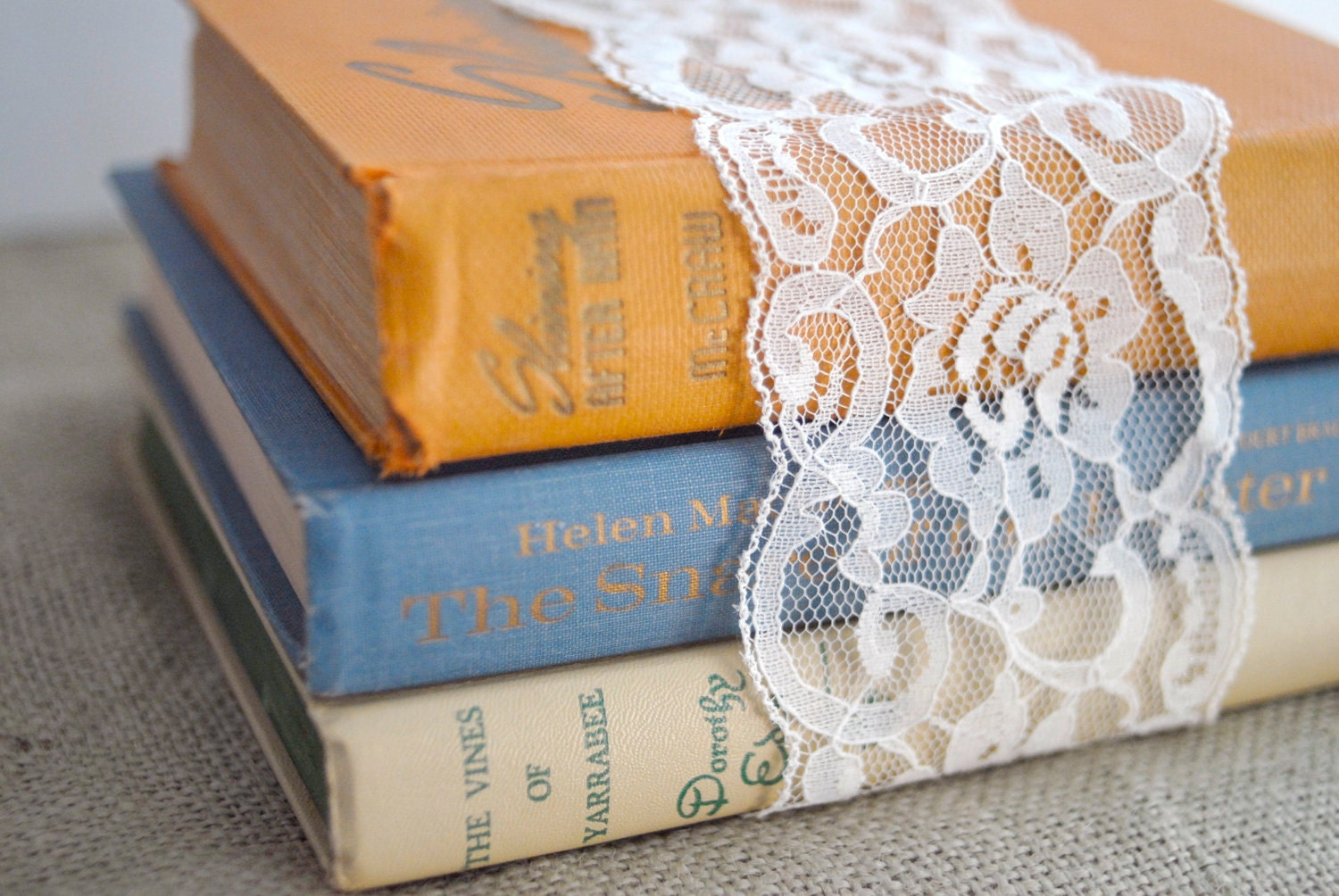Vintage Book Set in Soft Rustic Colors