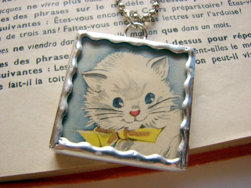 Cute White Kitten Soldered Glass Charm Pendant Necklace- Cat Kitty Animal Pet