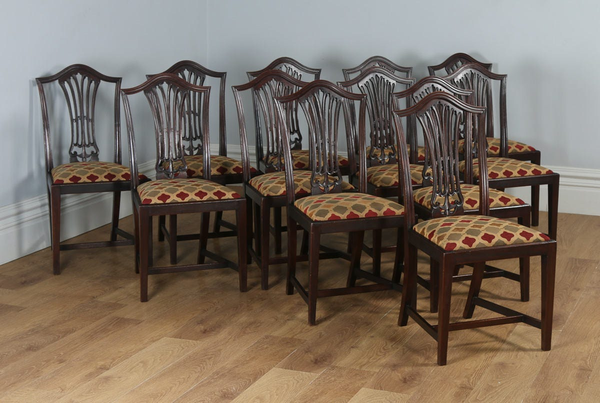 Antique Set of 12 English Georgian Hepplewhite Style Mahogany Dining Chairs (Circa 1920)