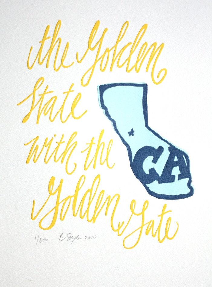 California Letterpress Art Print--State Series