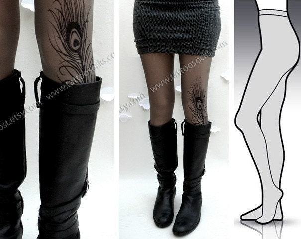 Large/Extra Large sexy MINI and BOOTS peacock FEATHER tattoo tights / stockings / full length / pantyhose / nylons Grey
