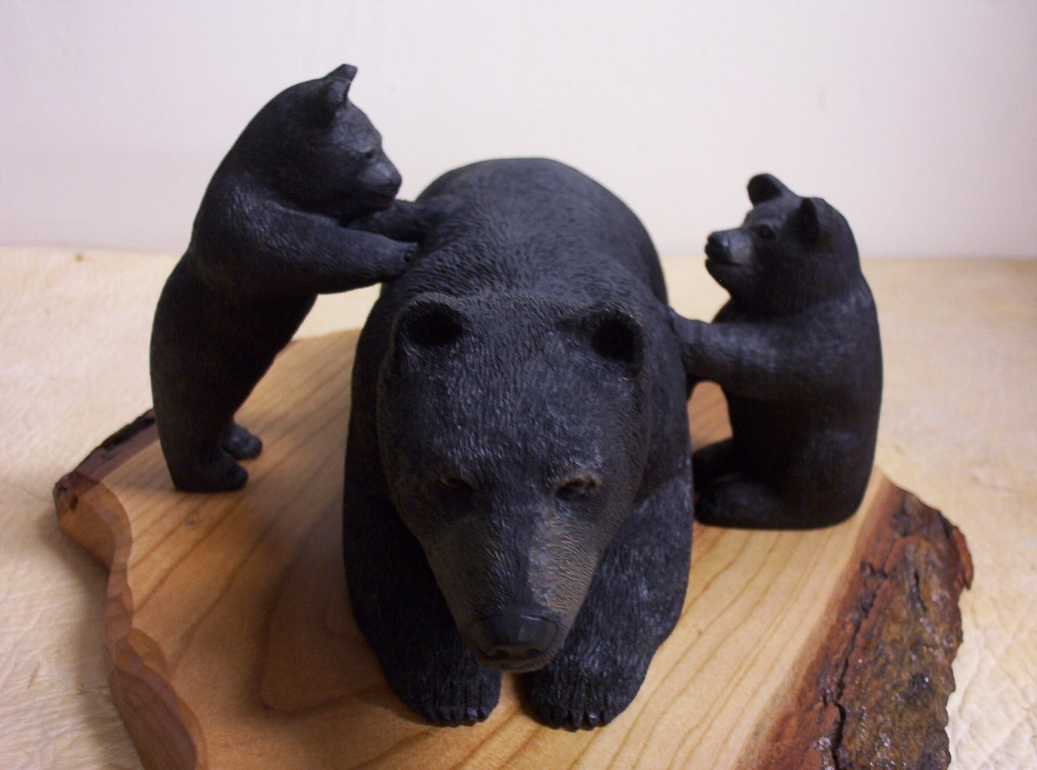 "Wood carving - Black Bear and Cubs - "" I See You."""