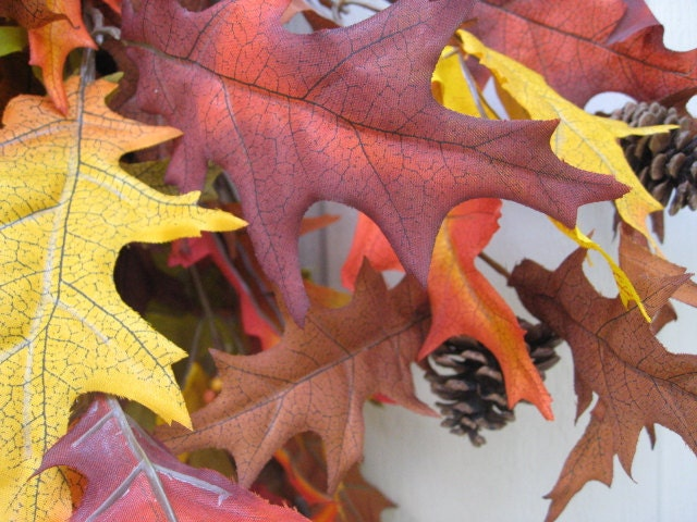 Осенние листья осенью Венок Венок Венок передней двери Альтернативные