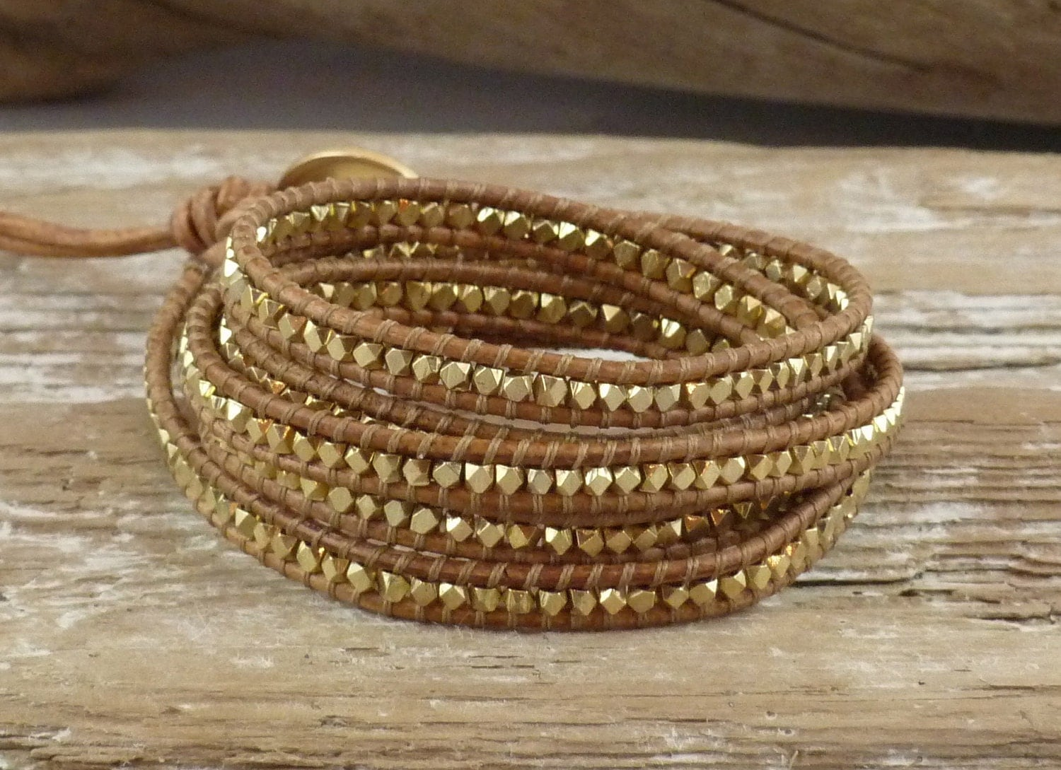 New, Saddle Brown Leather and Gold Beaded Five Wrap Bracelet