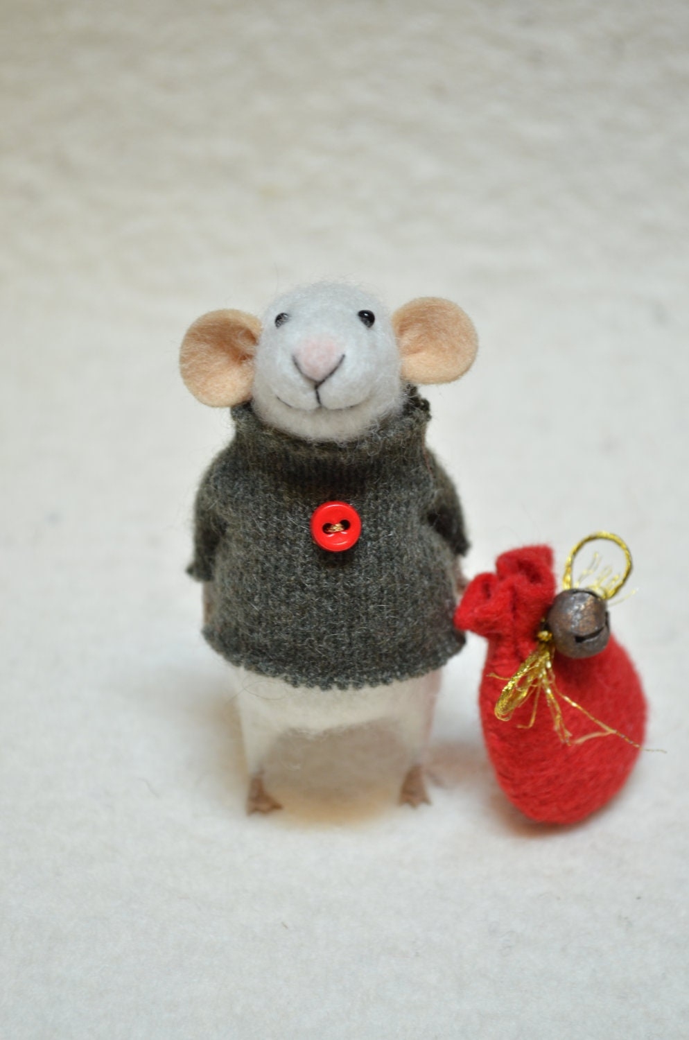 CHRISTMAS MOUSE - unique - needle felted ornament animal, felting dreams made to order