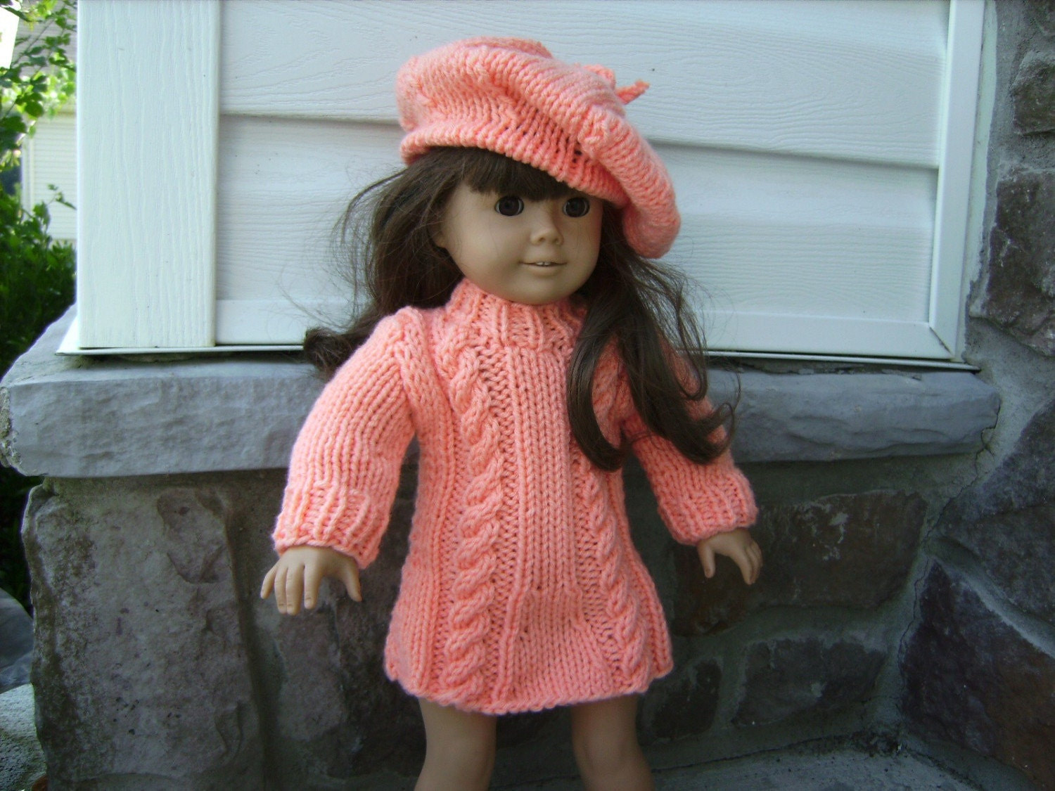 Peach American Girl Doll Hand Knit Mini Skirt with Hat