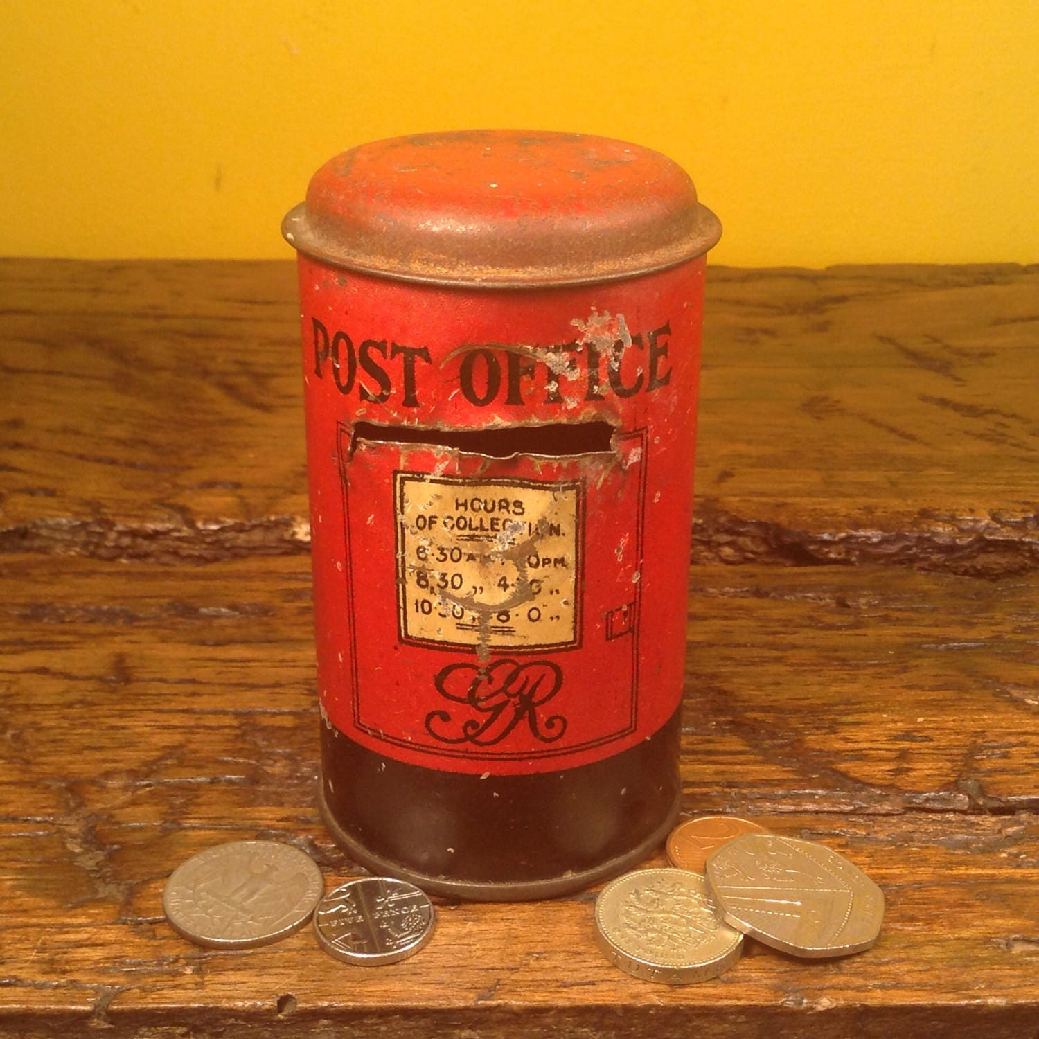Vintage red Royal Mail post box money bank. Post office box British. Red with alphabet.