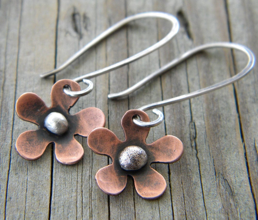earrings. copper flower, sterling silver, mixed metals, organic, nature