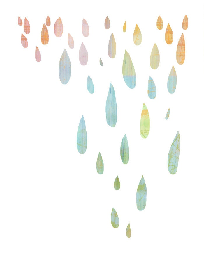 rain drops - colorful pastel dripping silhouettes on white - 8.5 x 11 contemporary abstract art print - lulubeaucoup