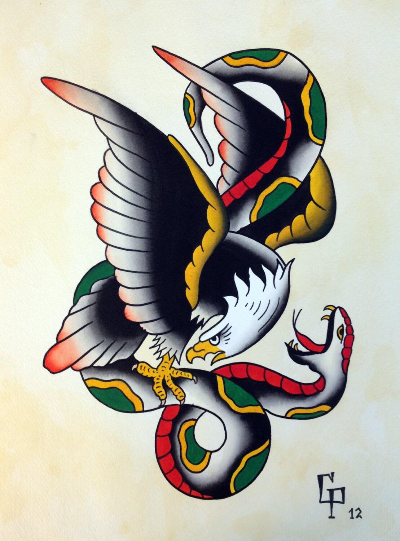 Traditional Eagle Tattoo Flash
