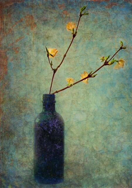 Синяя бутылка Forsythia штраф поздравительная открытка искусства