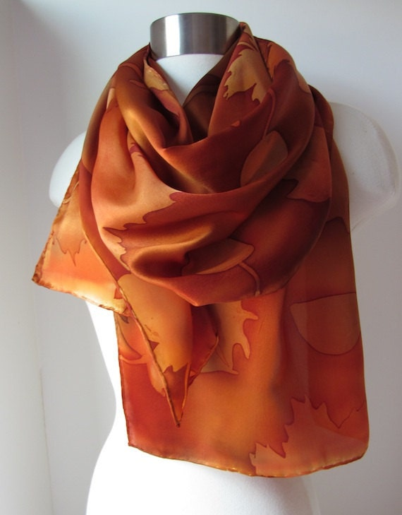 Autumn Leaves batik silk scarf hand painted in Autumn colors