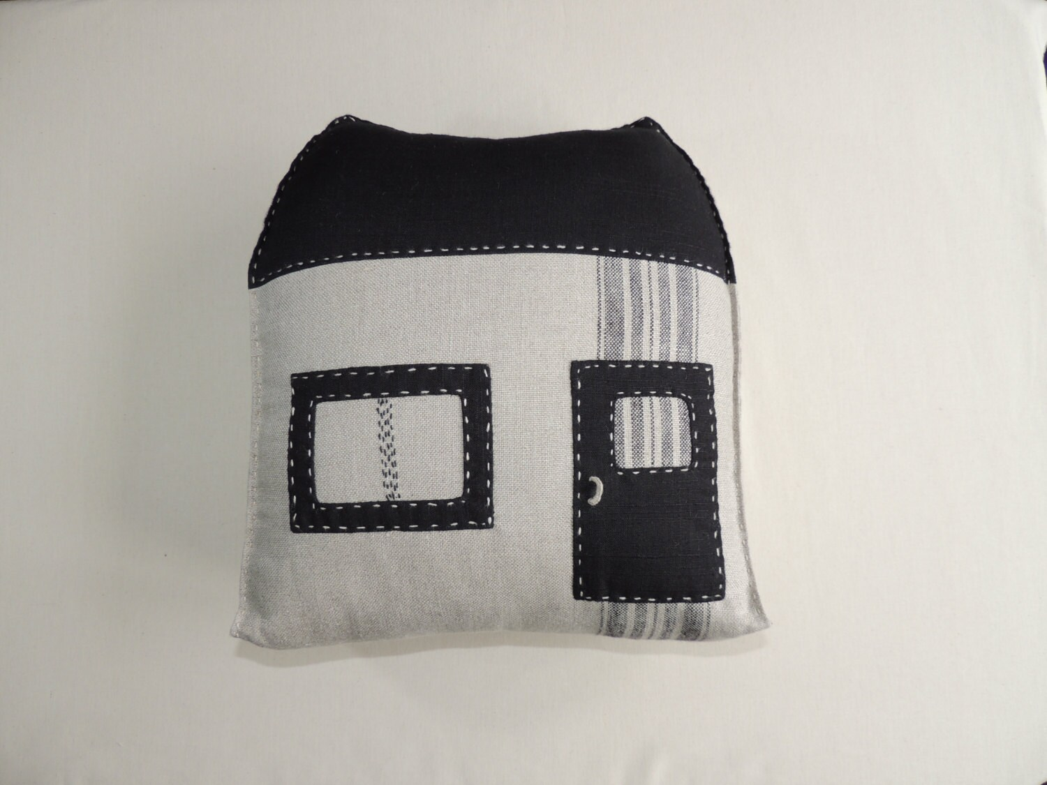 Decorative linen pillow-house, with applications, for home.All new materials. - handmadebyzoja