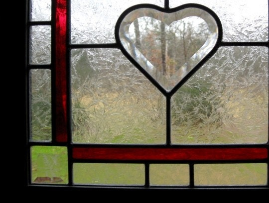 Framed Stained Glass Beveled Heart Panel