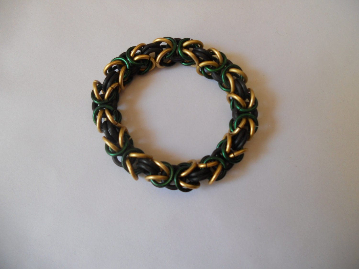 Green and Gold Loki Byzantine Chainmail Bracelet by ...