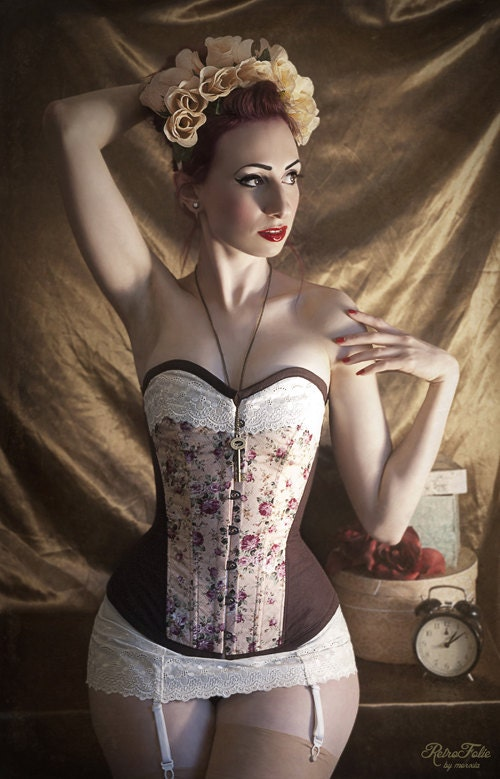 GET 50%OFF,  RetroFolie overbust corset, Vintage floral blue, pink, mint with English brocade II