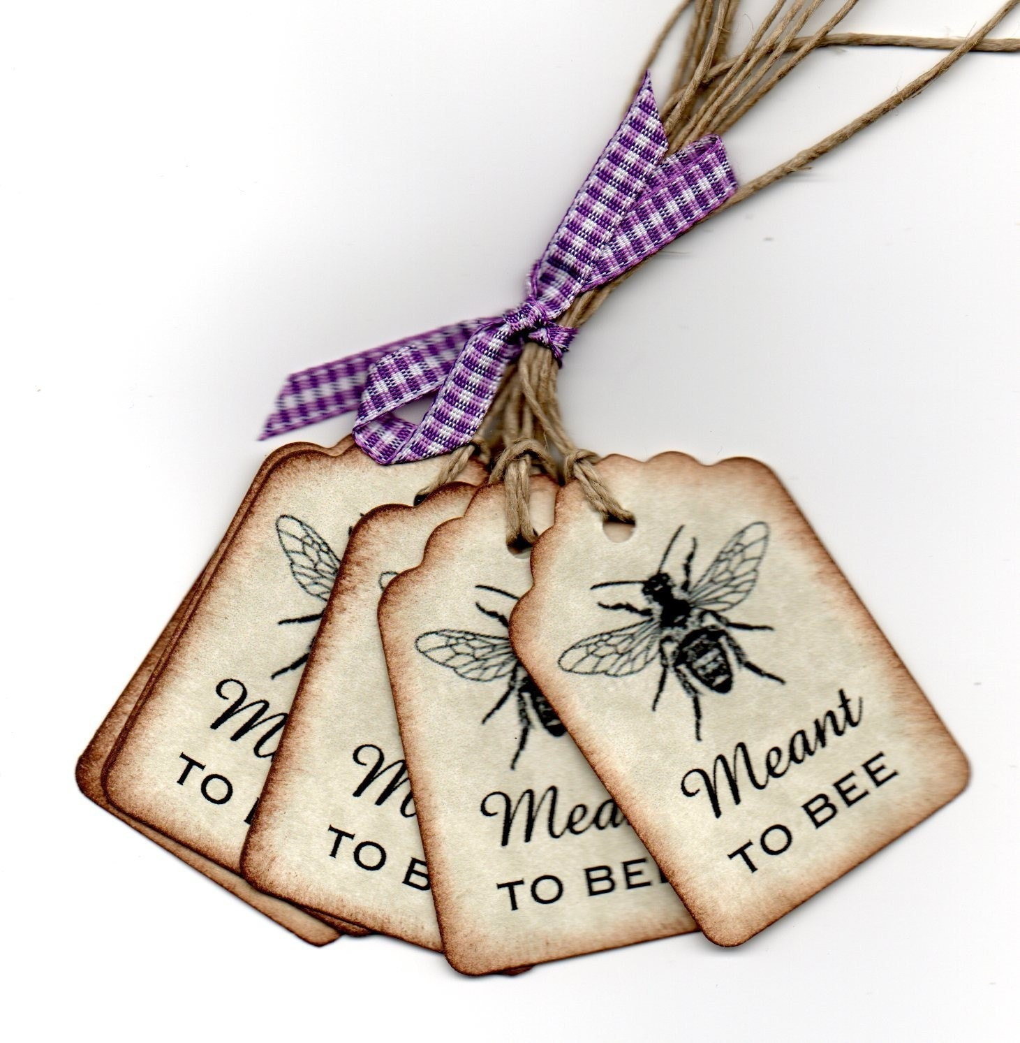 Wedding Favor Tags Wedding Wish Tags Meant To Bee Handmade Vintage ...