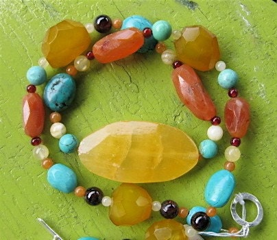 Calcite, Carnelian, Garnet and Turquoise Necklace