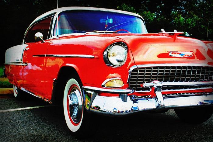Gorgeous 1955 Red and Cream Chevrolet Belair  - Classic Car - Garage Art - Pop Art - Fine Art Photograph