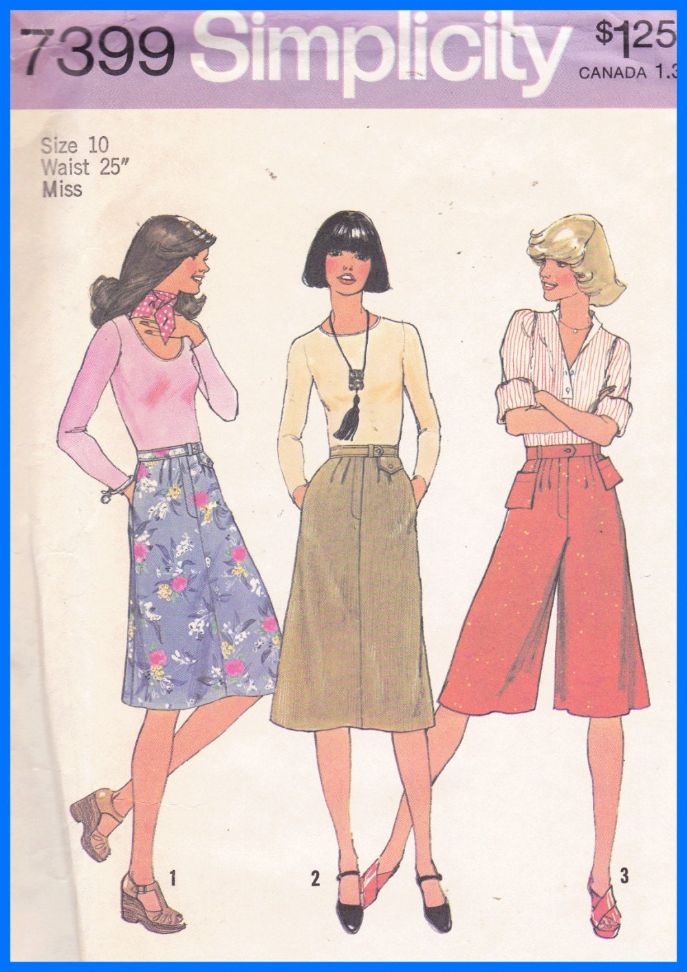 Vtg Simplicity 7399 Misses CULOTTES GAUCHO PANTS by TheOldOwl