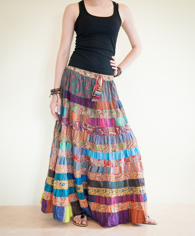 Unique Colorful Gypsy Patchwork Long Skirt by AmazingThaiStore