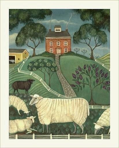 COUNTRY SHEEP FARM Signed Folk Art Print LAMB ART Wendy Presseisen