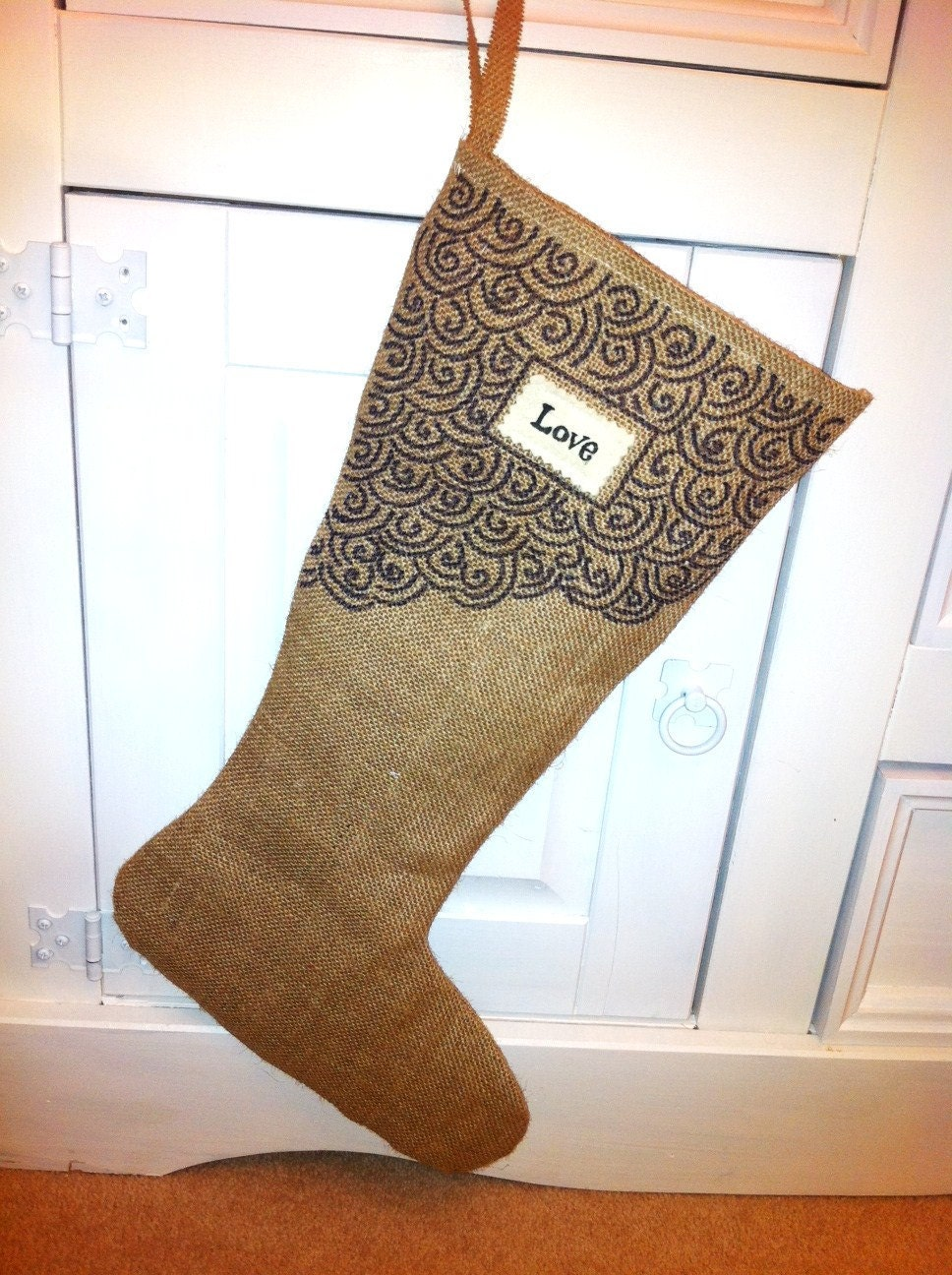 Custom LOVE Burlap Christmas Stocking - Unisex - Rustic Shabby Chic - Ecofriendly Christmas