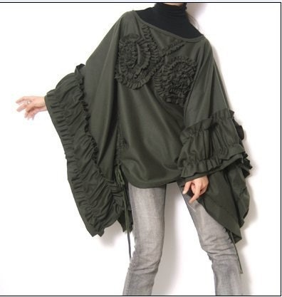 Olive Green Pure Wool Cape Poncho Cloak Coat Batwing Victorian Bolero