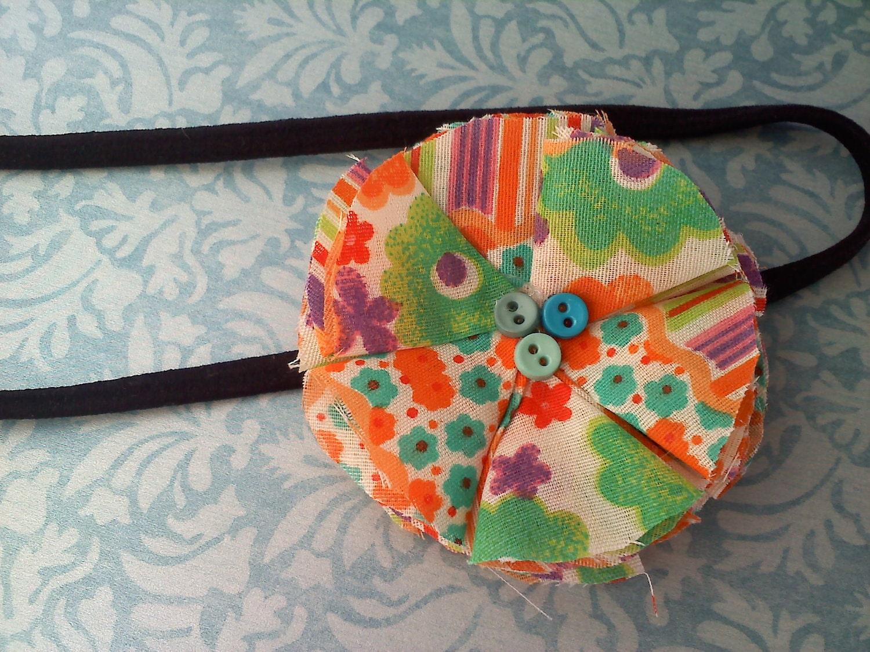 60's orange ruffle headband