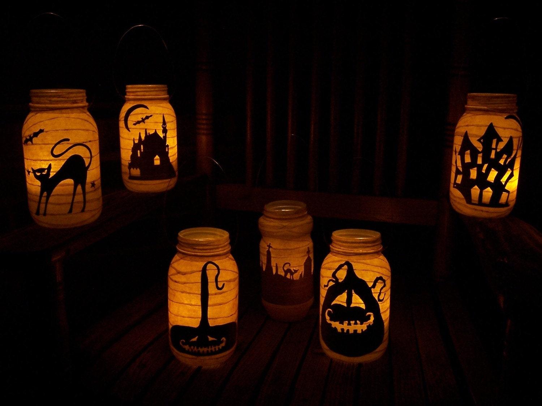 Grungy Primitive Halloween Cemetary Lantern