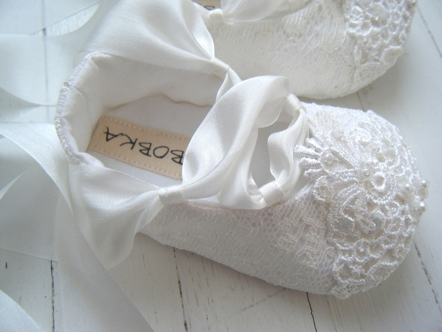 White Lace Ballet Shoes, Baby Girl Shoes, Christening Shoes,White