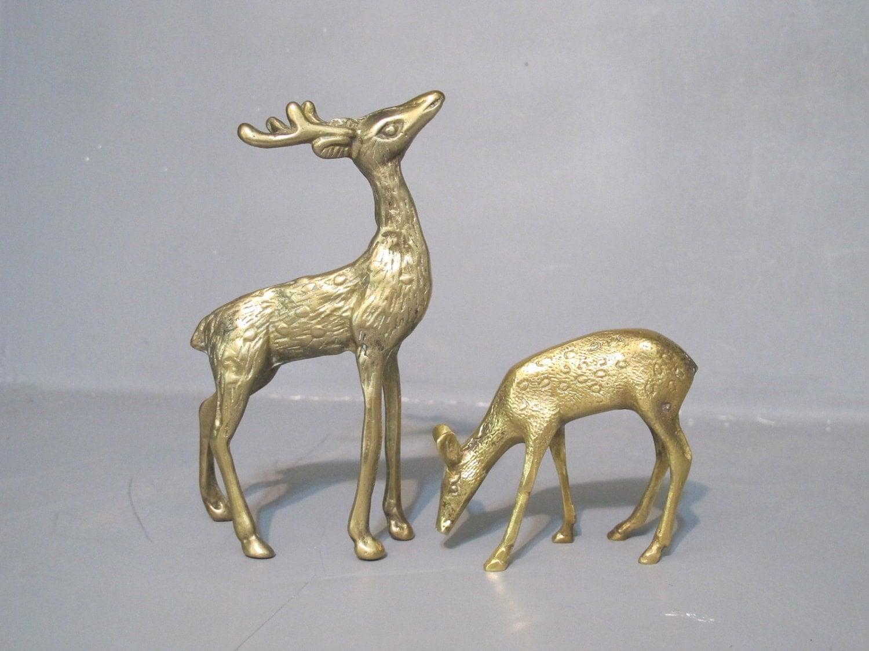 Vintage Buck and Doe Brass Deer Figurine / by MilkaCervenka