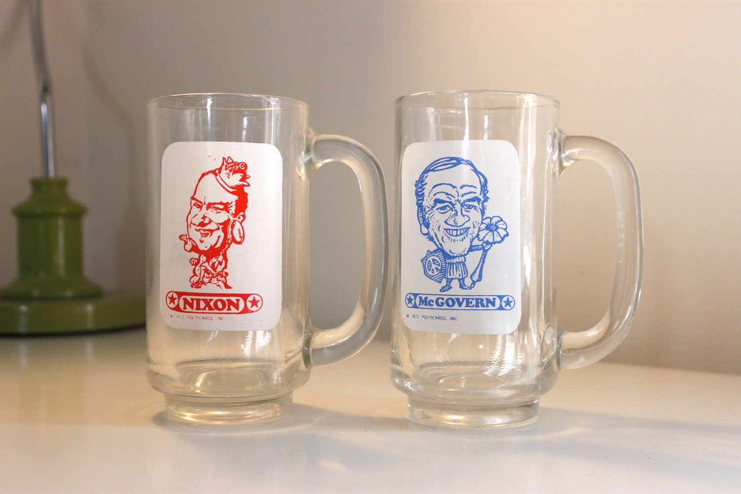 Vintage Presidential Candidate Republican Democrat Beer Mugs From 1972 Great Political Gift