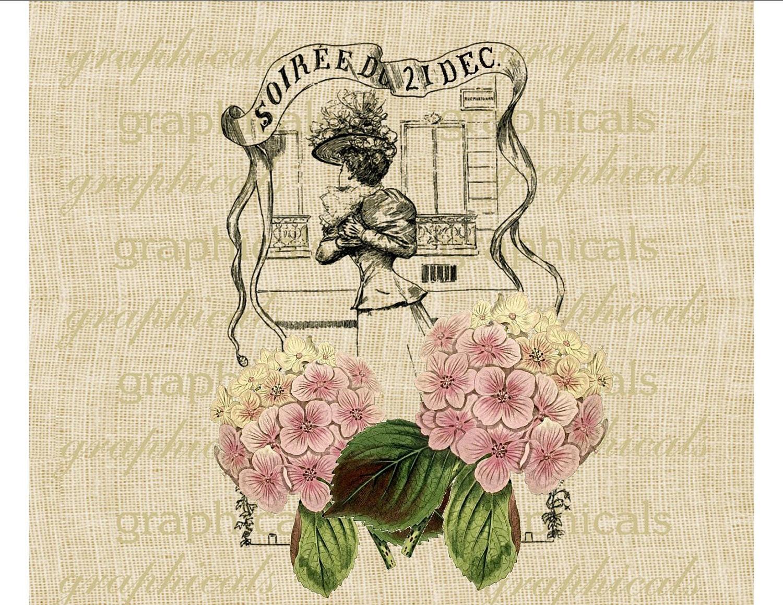 Старинная французская эфемерной Рождество розовых гортензий Цифровое изображение скачать железа на ткани мешковины передачи декупаж подушки тотализаторов номер 1779