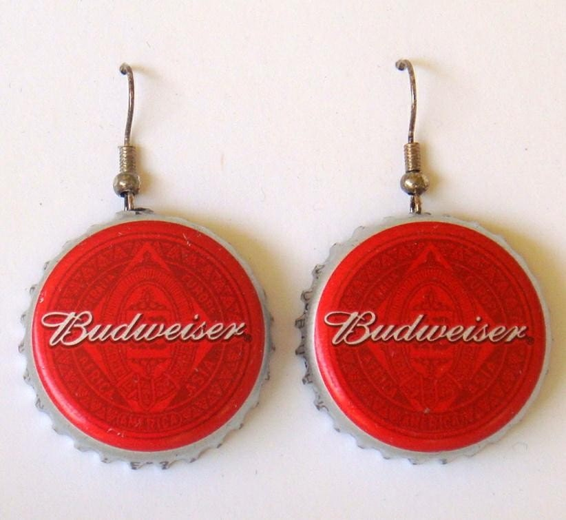 Budweiser recycled beer bottle cap earrings by destinyscove - Beer bottle caps recyclable ...