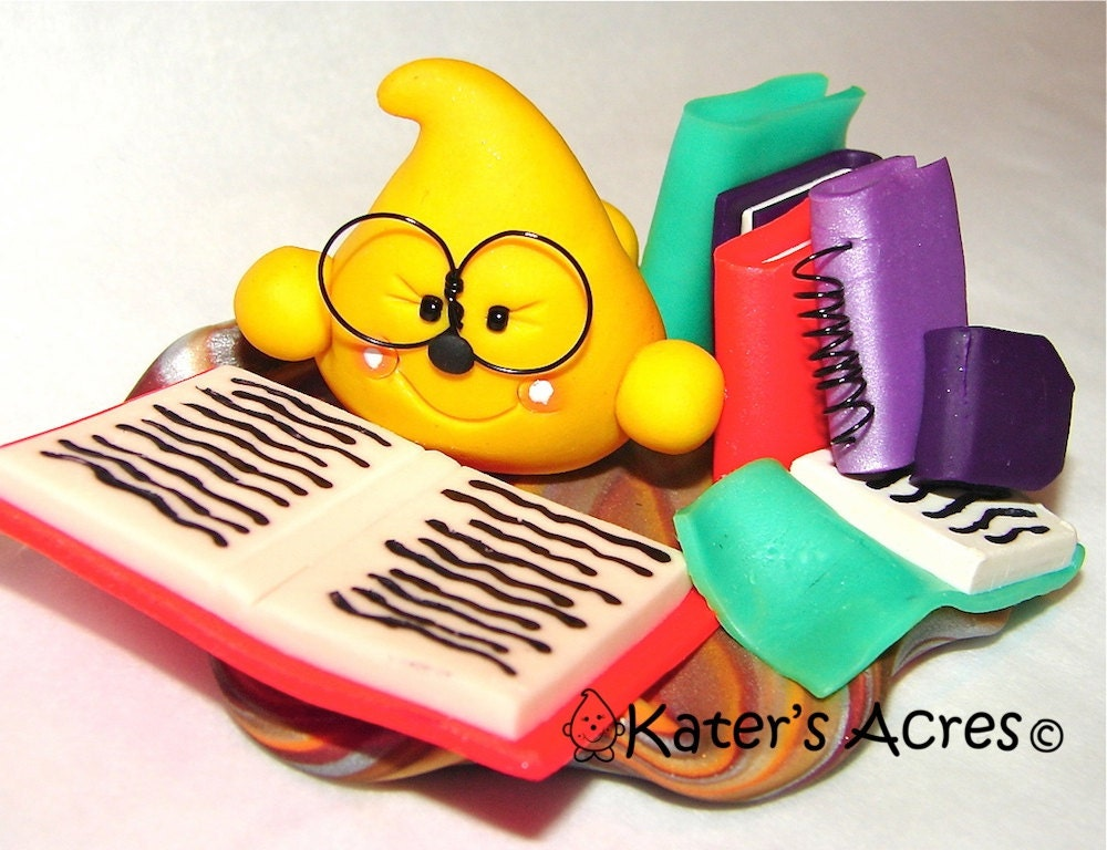 Library Reading Parker Polymer Clay Character StoryBook Scene by KatersAcres