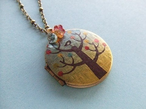 SWEET AUTUMN BIRD locket necklace