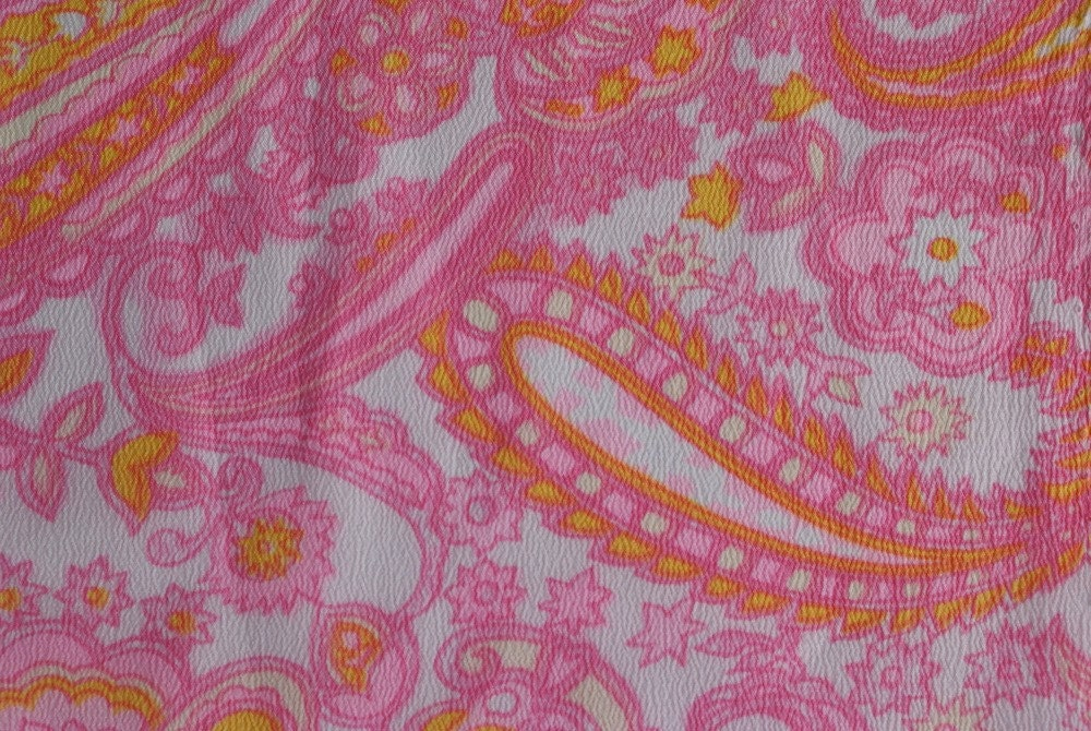 Pink and Yellow Vintage Flowy Fabric