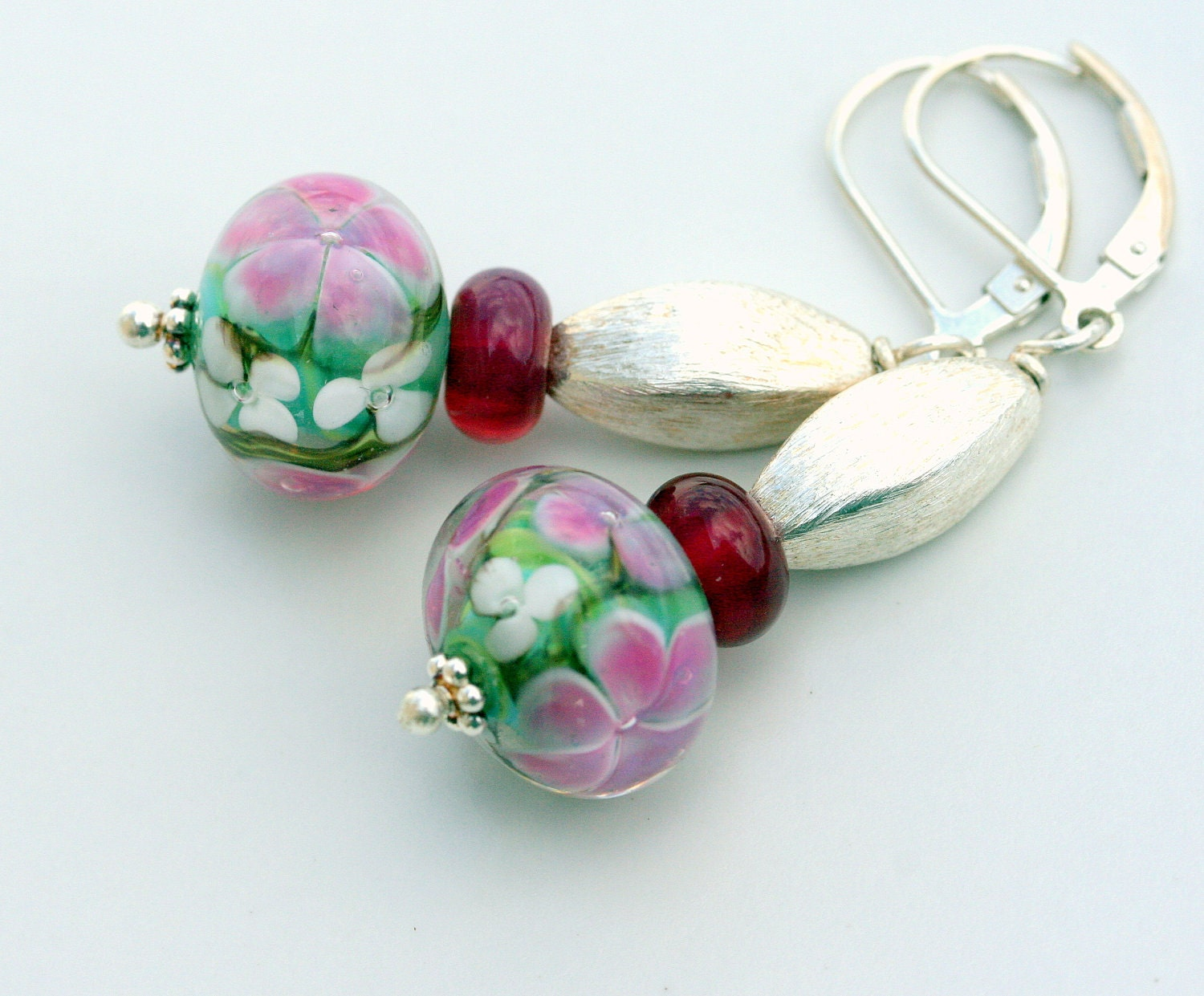 Pink Florals artisan lampwork and sterling silver earrings