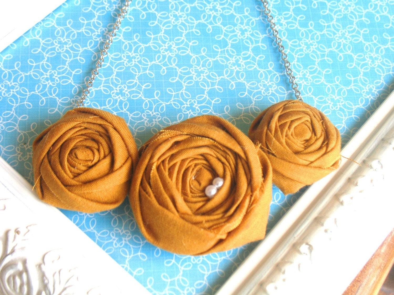 Pumpkin Spice Latte fabric flower rosette bib necklace
