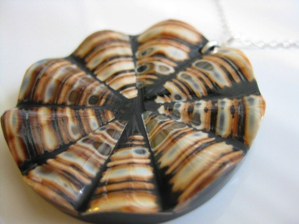 Natural Shell and Black Resin Pendant Sterling Silver Necklace - PeacockWhatYouLove