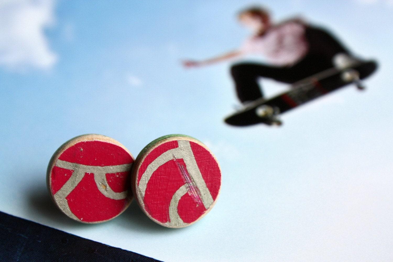 Recycled Skateboard Roar Stud Earrings