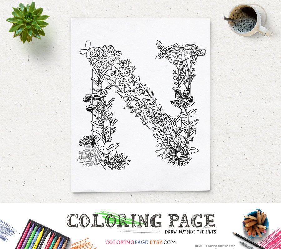 N Alphabet Colouring Pages Coloring